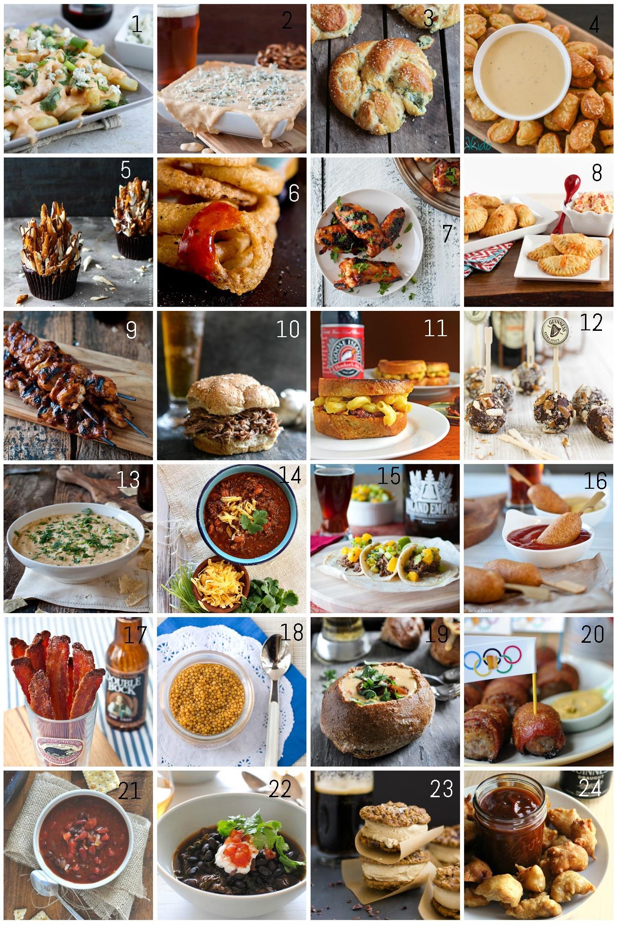 round up collage  Soirée Foot / Rugby   Les 25 meilleures recettes à la bière