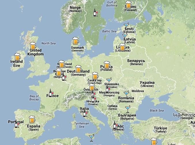 Carte d'Europe des pays consommateurs de bières