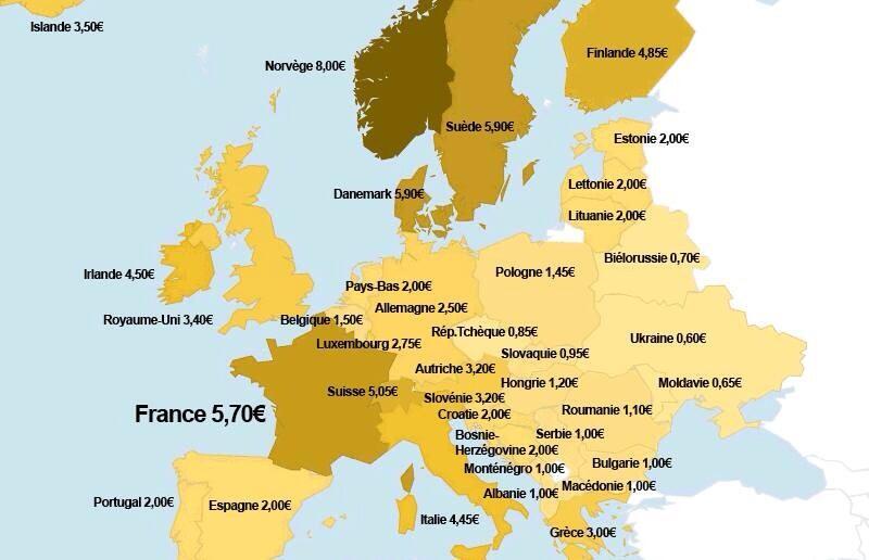 quel est le prix d une bi 232 re en europe
