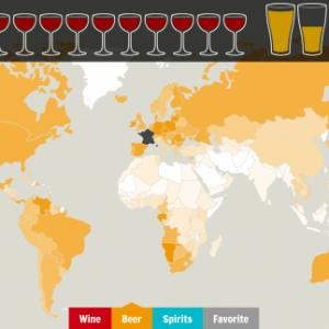 La carte de la consommation d'alcool dans le monde