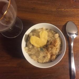 Risotto à la bière, poire et gorgonzola